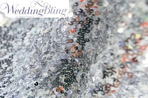 Sequin Table Runner Silver Poplet - Weddingbling